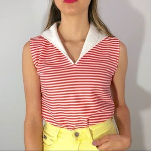 70's coral striped top